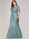 Plus Size Floral Sequin Print Fishtail Tulle Dresses-Dusty Blue 4