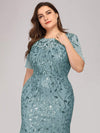 Plus Size Floral Sequin Print Fishtail Tulle Dresses-Dusty Blue 5
