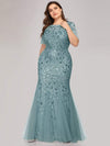 Plus Size Floral Sequin Print Fishtail Tulle Dresses-Dusty Blue 1