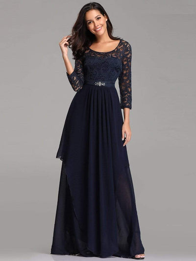 Round Neck Floor Length Dress with 3/4 Sleeve