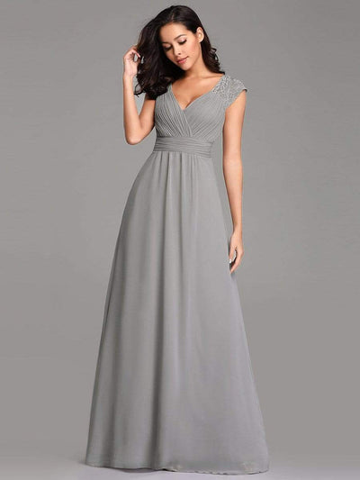 Women's V Neck Empire Waist Bridesmaid Dress with Lace Cap Sleeve