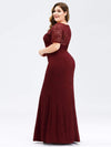 Short Sleeve Long Burgundy Lace Evening Dress-Burgundy 7