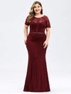 Short Sleeve Long Burgundy Lace Evening Dress-Burgundy 6