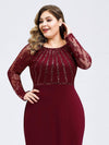 Plus Size Fishtail Dresses With Long Lace Sleeve-Burgundy 5