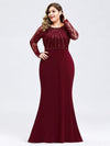 Plus Size Fishtail Dresses With Long Lace Sleeve-Burgundy 1