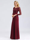 Fishtail Dresses With Long Lace Sleeve-Burgundy 3
