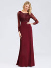 Fishtail Dresses With Long Lace Sleeve-Burgundy 4