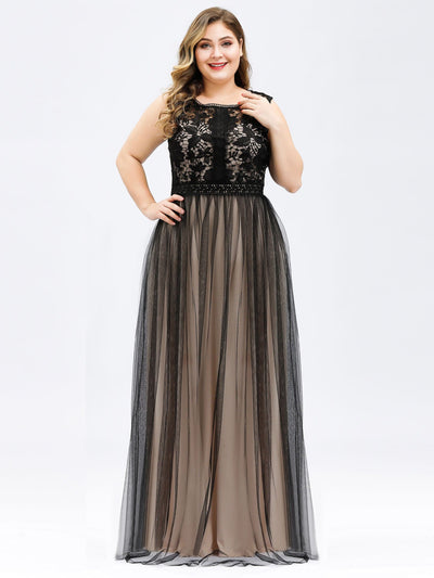 A-Line Maxi Long Plus Size Prom Dresses for Women with Mesh