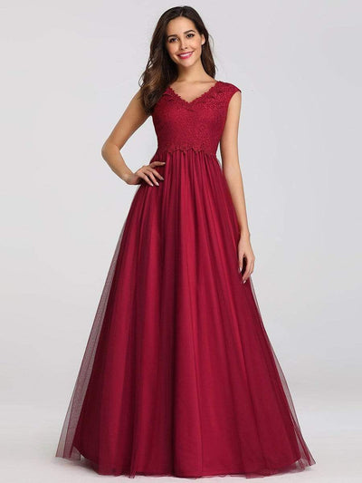 Ever-Pretty Elegant Burgundy Maxi Long Lace Dresses