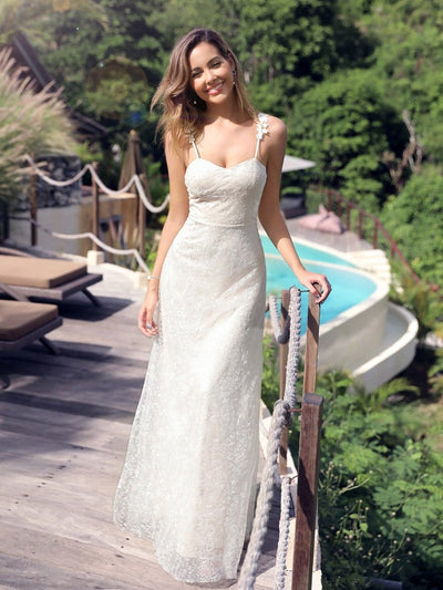 Spaghetti Straps Sweet Heart Neckline Lace Wedding Dresses