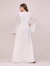 Plus Size V Neck Evening Dress With Long Sleeves-Cream 2