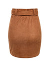 Asymmetric Suede High Waist Leather Short Skirt For Women-Camel 7