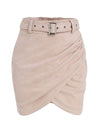 Asymmetric Suede High Waist Leather Short Skirt For Women-Pink 3