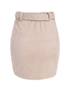 Asymmetric Suede High Waist Leather Short Skirt For Women-Pink 4