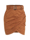 Asymmetric Suede High Waist Leather Short Skirt For Women-Camel 6