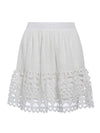 Women'S Elastic High Waist Hollow Out Embroidery Cotton Mini Skirt-White 7