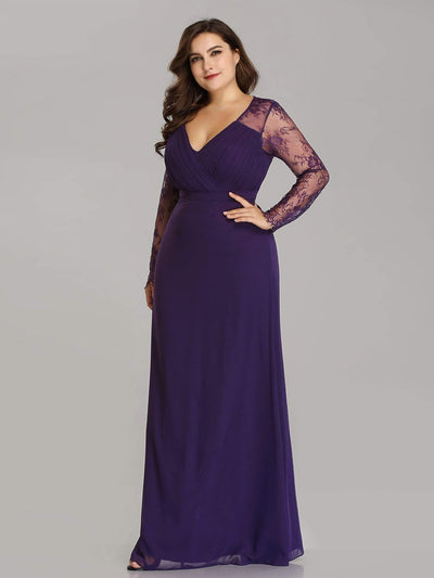 Plus Size V Neck Long Evening Gowns with Lace Sleeves