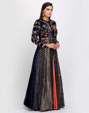 Buy Navy Blue Lengha - Velvet Jacket Lehenga Choli Online - GlamouRental