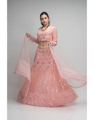 Baby Pink Embellished Lehenga Choli With Feathers