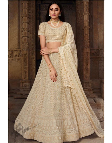 White Chinkakari Lehenga Choli