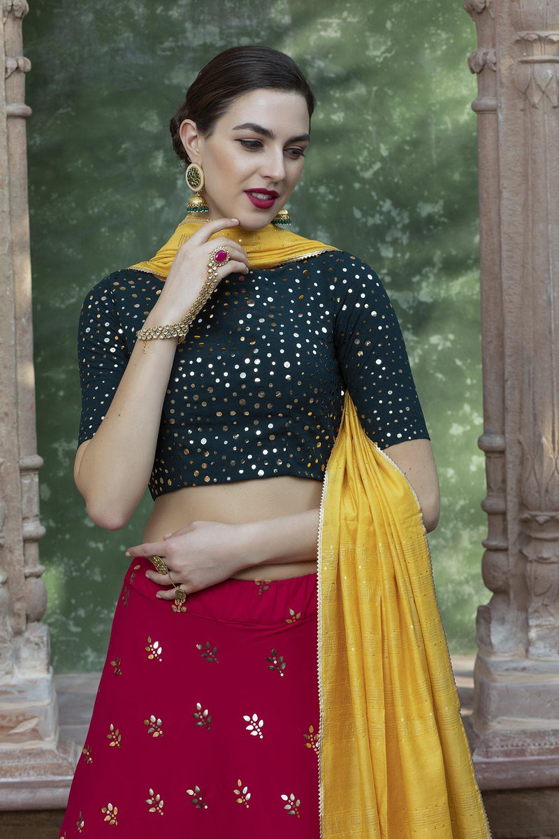 Rent Green & Rani Color Georgette Lehenga Choli