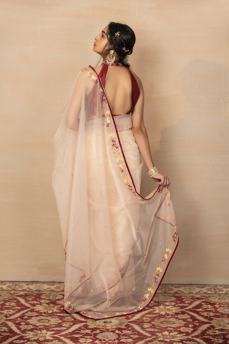 Rent Peach Saree with Maroon Halter Blouse