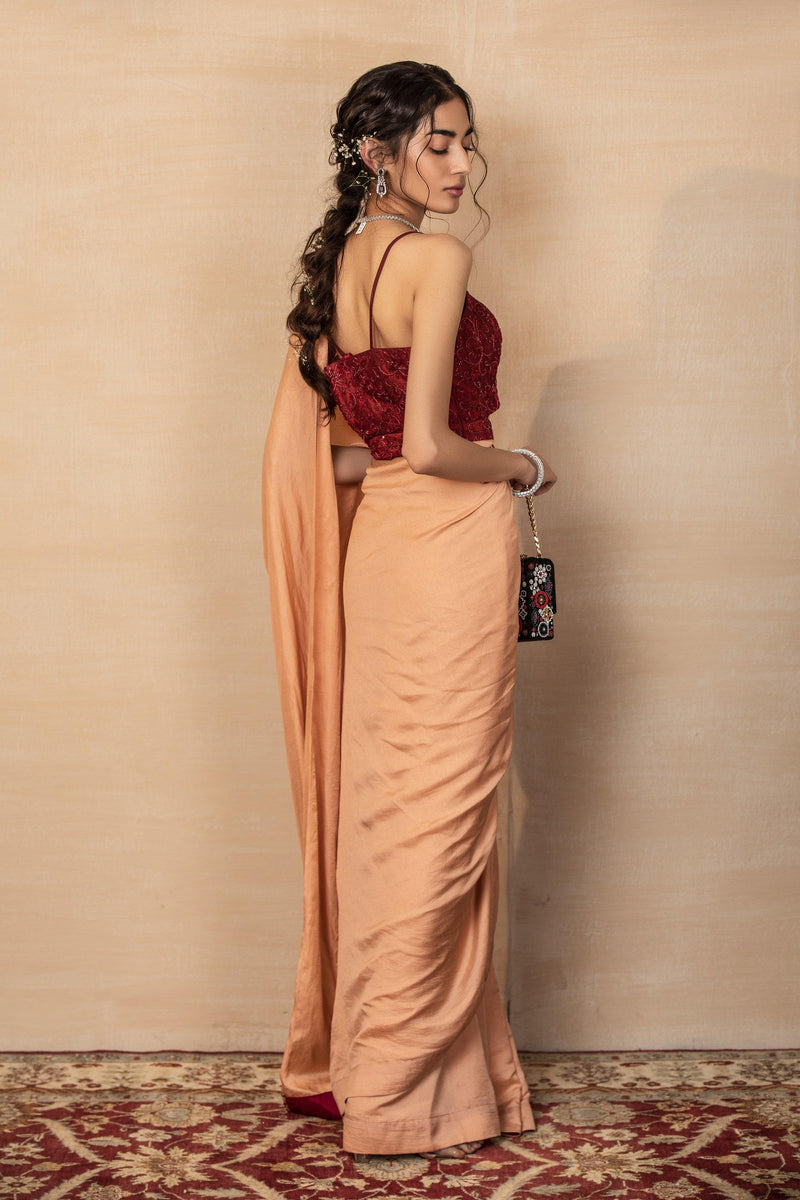 Rent Peach Saree with belted blouse