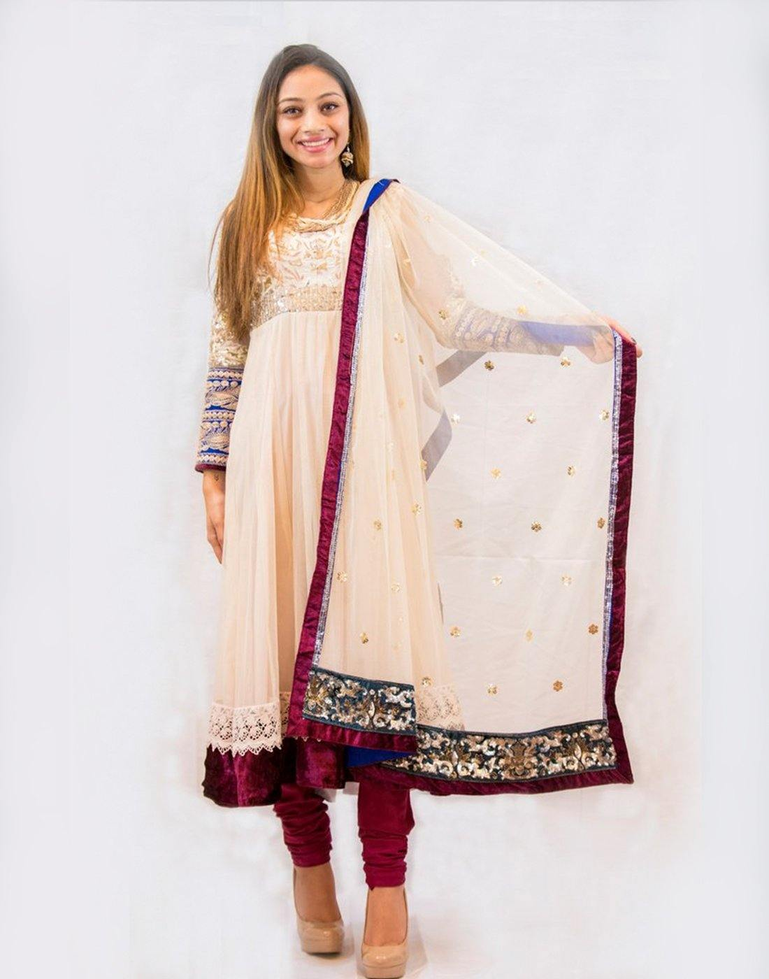 Rent Ivory and Maroon Net Anarkali-Women-Glamourental