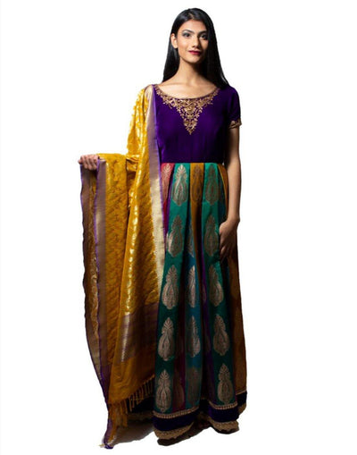 Rent Banarasi Multi Color Anarkali-Women-Glamourental