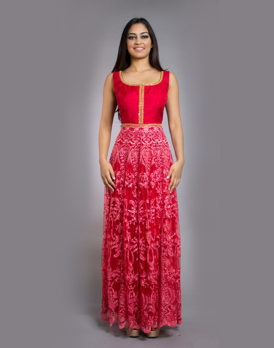 Rent Red Lace Anarkali-Women-Glamourental