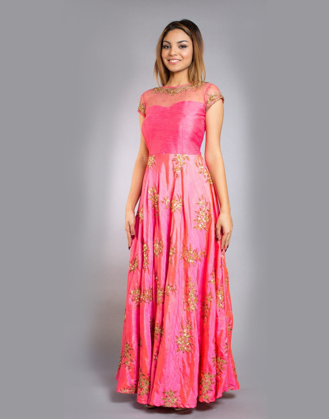 Rent Dark Pink Silk Gown-Women-Glamourental