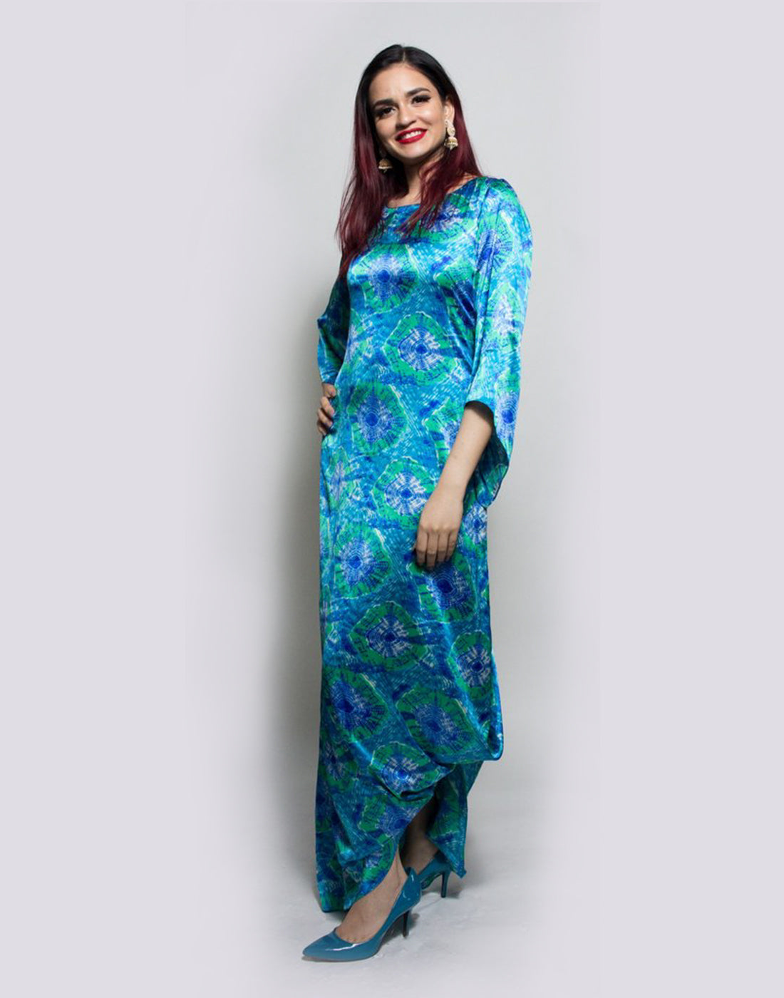 Rent Multi Blue Bactic Wrap Dhoti Gown-Women-Glamourental