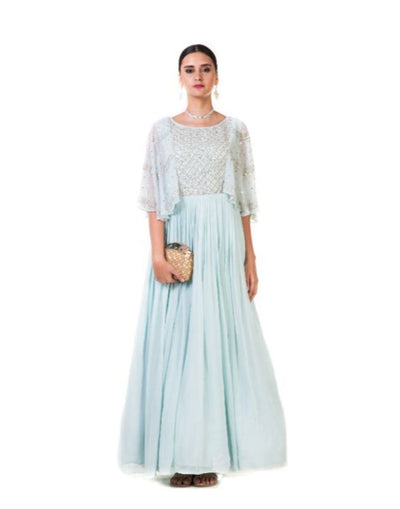 Hand Embroidered Powder Blue Pleated Sequin Cape Gown-Women-Glamourental