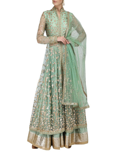 Pista Green Jacket With Lehenga Set