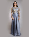 Rent Grey Anarkali With Dupatta-Women-Glamourental