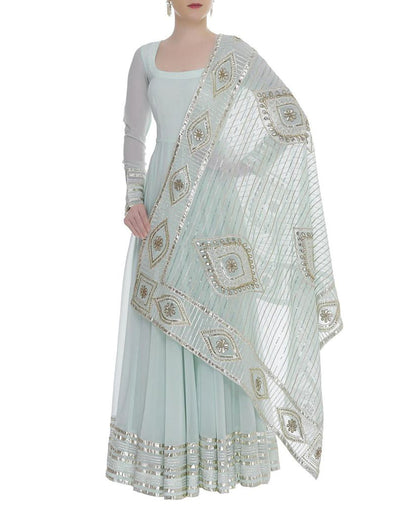 Gota Embroidered Long Anarkali With Dupatta-Women-Glamourental