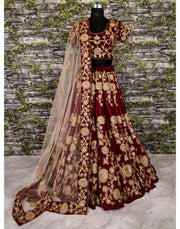 Rent Maroon & Gold Embroidered Silk Velvet Bridal Lehenga-Women-Glamourental