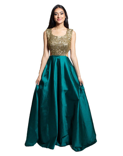 Rent Green Sequence Gown-Women-Glamourental