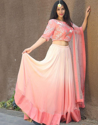 Peach Bird Embroidery Double Shaded Silk and Georgette Lehenga Choli