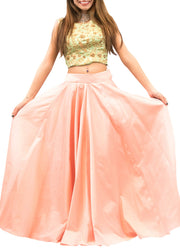 Green And Peach Embroidered Crop Top & Skirt