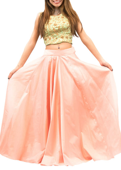 Green And Peach Embroidered Crop Top & Skirt-Women-Glamourental