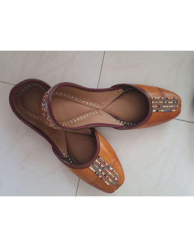 Yellow Brown Leather Jutti With Multicolor Lace Work-Women-Glamourental