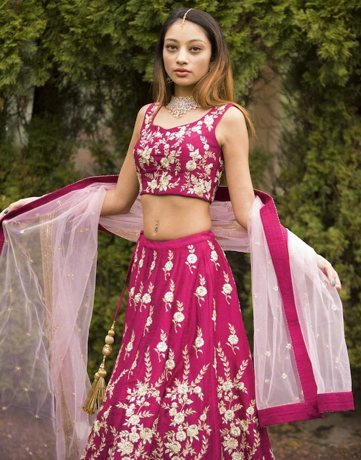 Rent Fuscia Color Heavy hand emrboidery Lehega Choli-Women-Glamourental