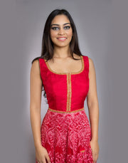Red  Lace Anarkali