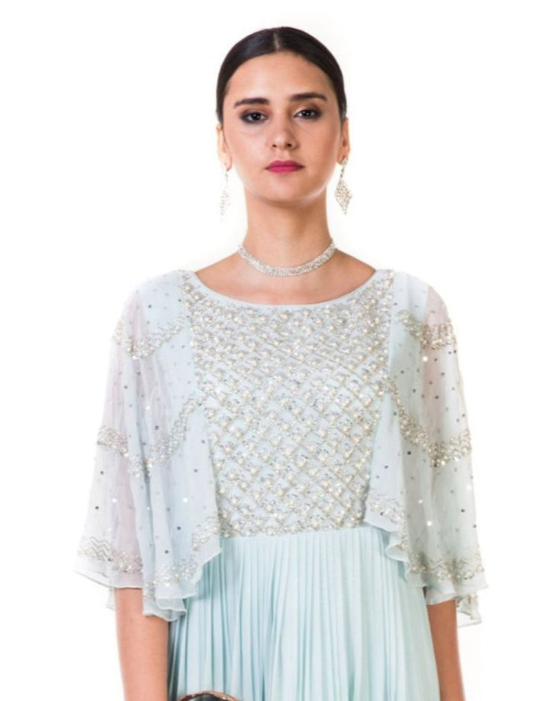 Rent Hand Embroidered Powder Blue Pleated Sequin Cape Gown-Women-Glamourental