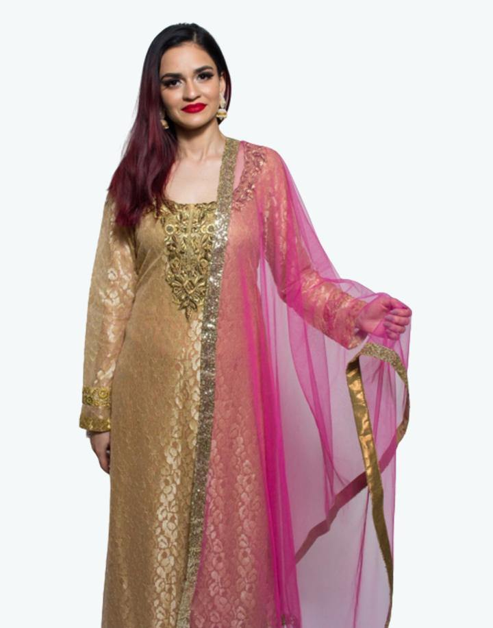 Rent Beige Net Kurta With Pink Palazzo And Dupatta