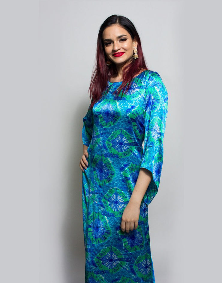 Multi Blue Bactic Wrap Dhoti Gown