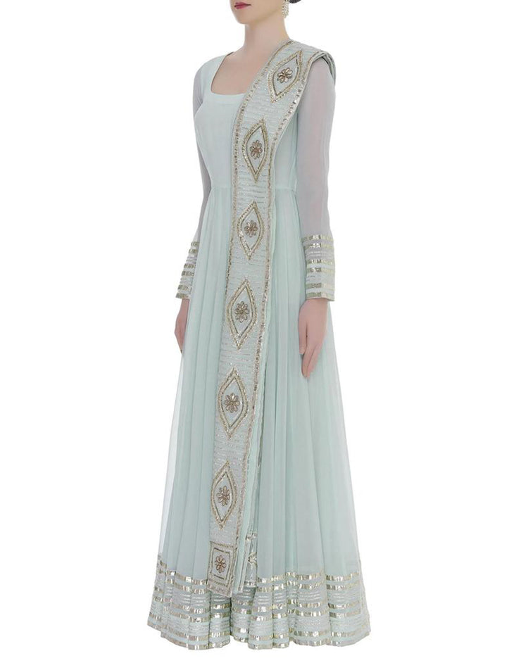 Rent Gota Embroidered Long Anarkali With Dupatta-Women-Glamourental