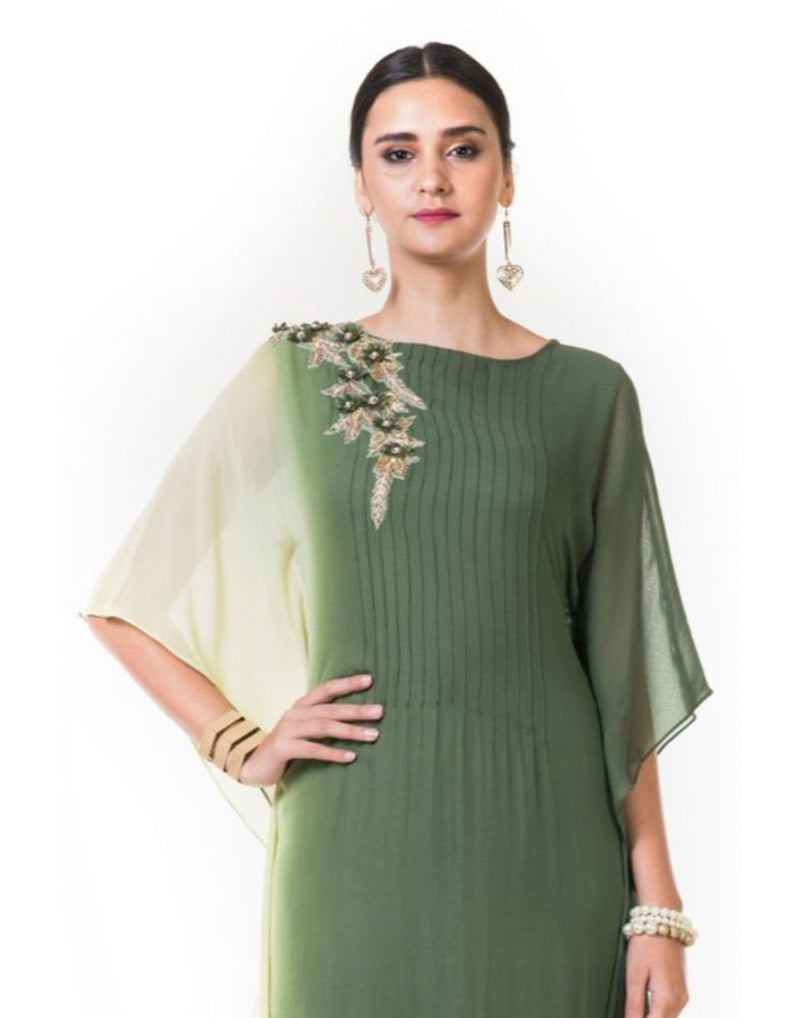 Rent Lemon & Green Shaded Kaftan Drape Gown with Floral Embroidery-Women-Glamourental