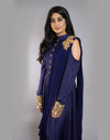 Rent Indigo Blue Saree Gown-Women-Glamourental